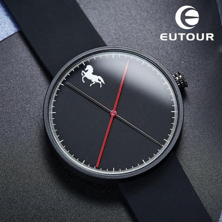 2017 Luxury Brand Eutour Fashion men Horse watch Business male watches silicone Clock Minimalist Simple quartz Wristwatches