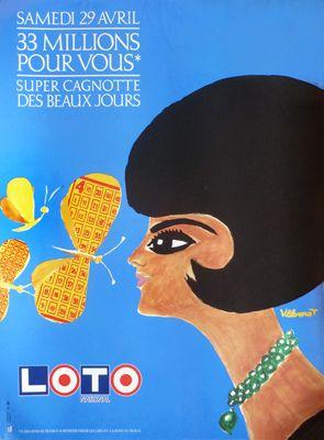 Galerie Montmartre: Original Vintage Posters Bernard Villemot Loto Butterfly 1989