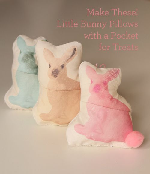 DIY: Mini Bunny Pillows, with a pocket for treats! Easy tutorial.
