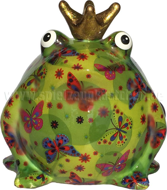 "Pomme Pidou Sparbüchse FROGKÖNIG ""FREDDY"" grün mit Schmetterlingsmuster   – mixed"