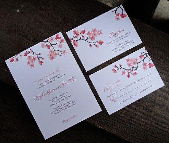Printable Cherry Blossom Invitation RSVP and by fu…