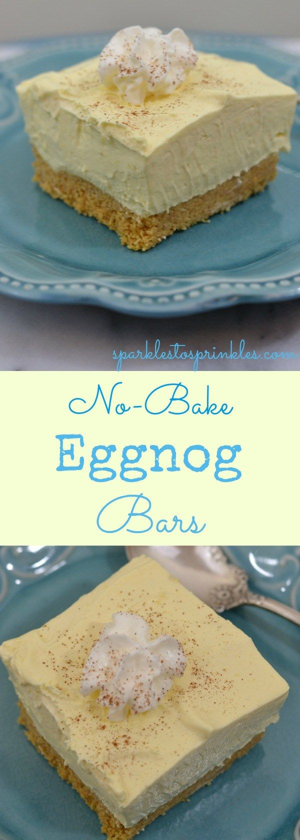 If you love eggnog than you are going to LOVE these No-Bake Eggnog Bars.  The flavor combination of graham cracker crust and a creamy sweet delicious eggnog filling is to die for! Pin for Later!