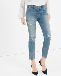 Destructed Straight Crop Jeans #whbm