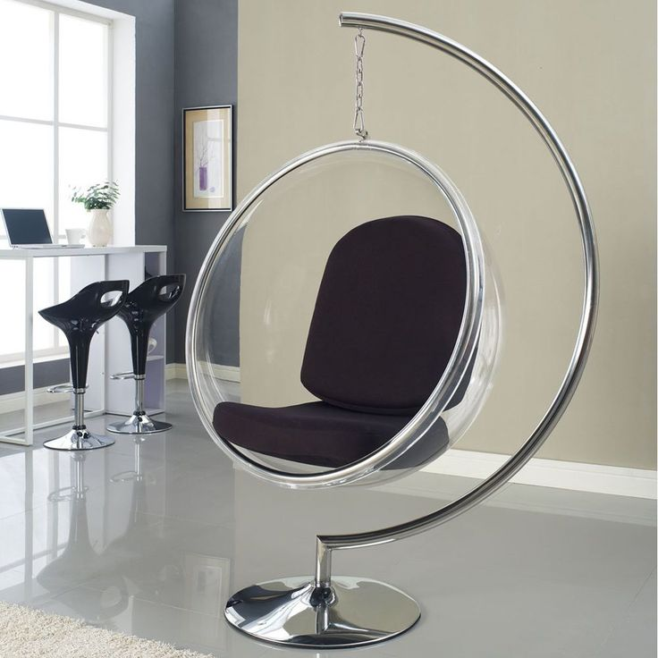 modway eero aarnio style bubble chair with cushion silver clear