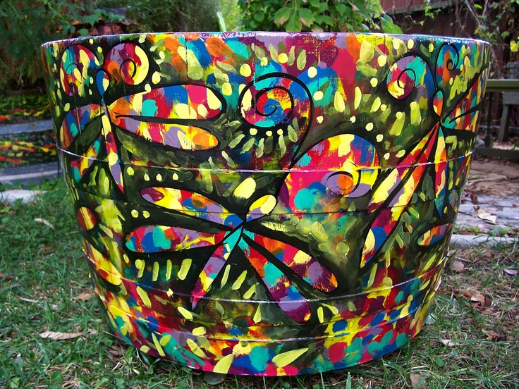 "Painted wine barrel"". Incorporate quotes or kids art?  Could be left stained wood with wood burning.  Artist : Titus Garden Art"