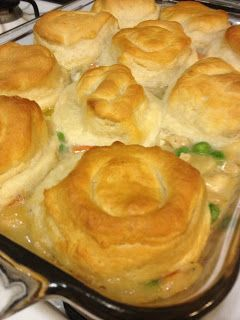 Simple Chicken Pot Pie. I recommend cooking the biscuits longer or leaving the foil on. A few of mine were not cooked thoroughly. I used ham leftovers from holiday-still good!!