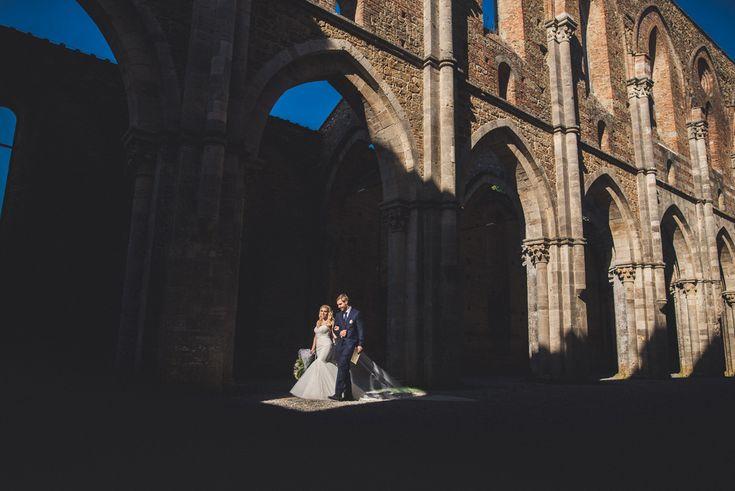 Bride Walking inside the Abbey -