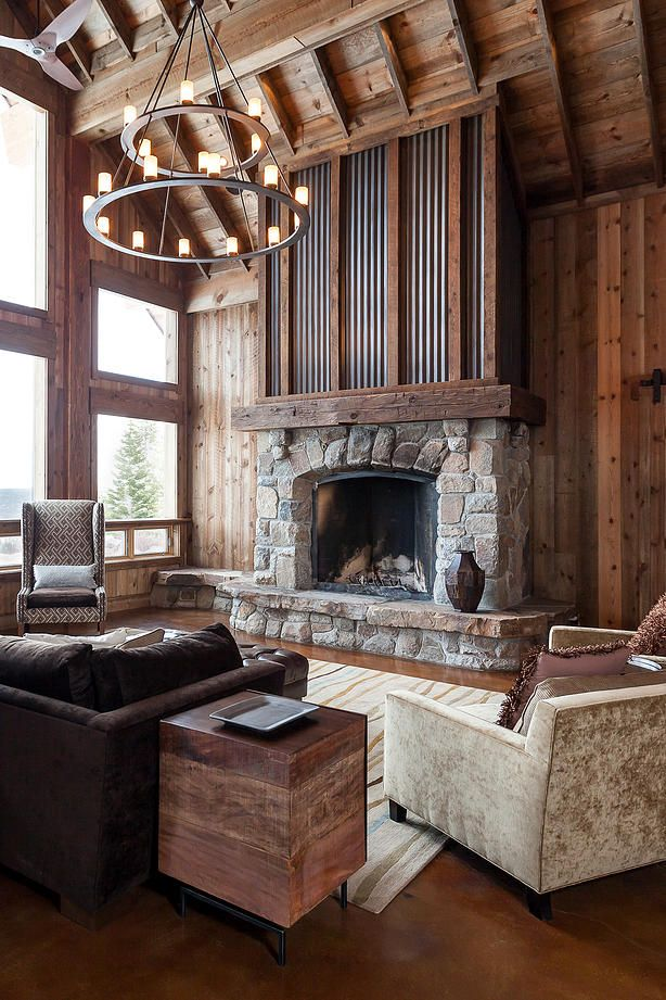 Best 20 cabin interiors ideas on pinterest log home for Lodge style fireplace ideas