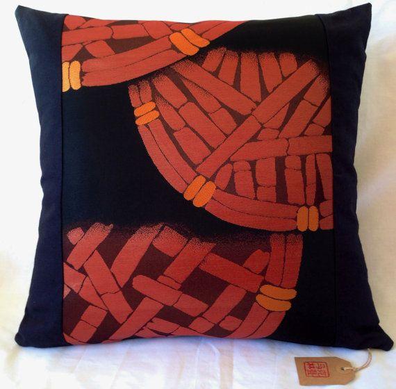 Vintage Japanese Obi Cushion Cover  Black  Burnt Orange by Setsuri