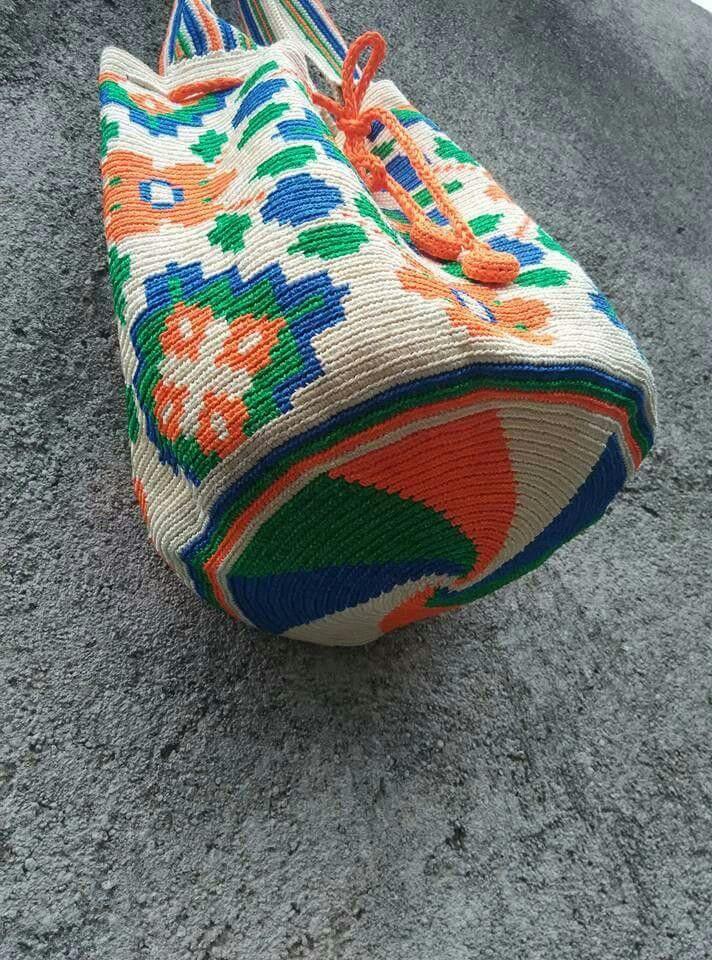 tapestry crochet bag made from satin ribbon 3 mm