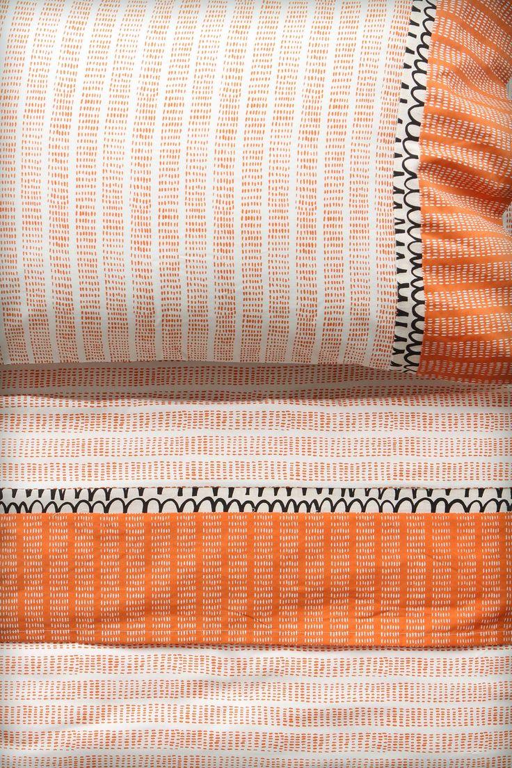 Flecked Stripes Sheet Set - orange anthropologie
