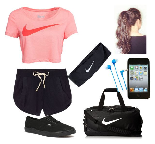 """Jogging Outfit"" by xo-night-changes-xo ❤ liked on Polyvore featuring Victoria's Secret, Vans, NIKE, Apple and Sony"