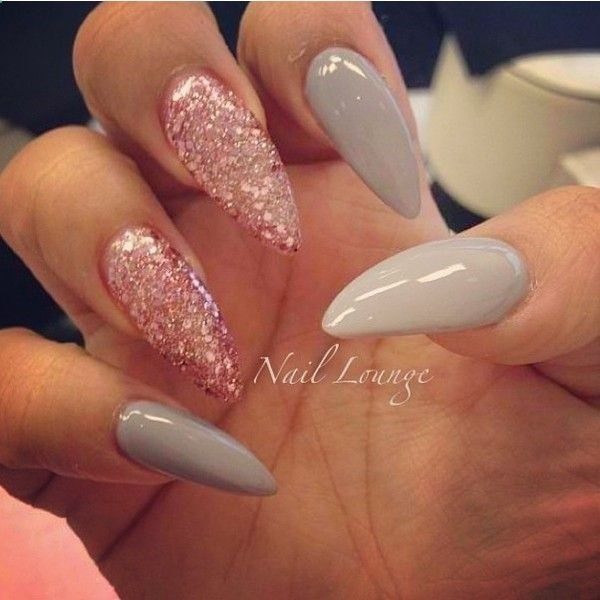 Gray and pink glitter stiletto nails - Best 25+ Acrylic Nails Glitter Ideas On Pinterest Sparkly