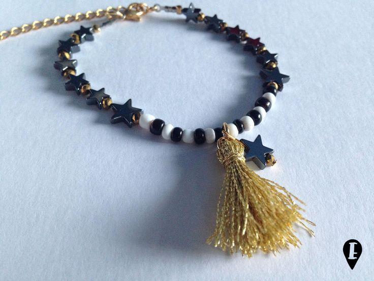 BRACCIALETTO con STELLINE e NAPPA di ELISABETOWN su Etsy #stars #tassel #bracelet #hematite #gold #lurex