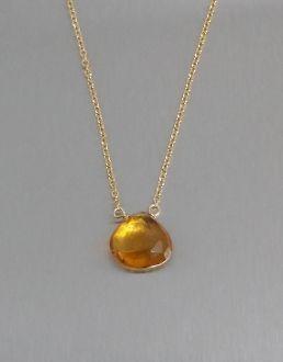 Mandarin Citrine Quartz Necklace (10mm)