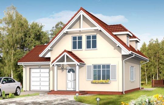 Projekt Pierwszy Dom 3 to kolejny wariant wersji podstawowej projektu Pierwszy dom. Budynek ma nieskomplikowaną konstrukcję i oszczędną formę - dzięki temu jest niedrogi w budowie. Projekt posiada funkcjonalne wnętrze, które mieści: na parterze obszerny salon z półotwartą kuchnią, pomieszczenie gospodarcze, garaż, na poddaszu trzy sypialnie i łazienkę.
