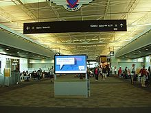The interior of the airport terminal, William P. Hobby Airport.