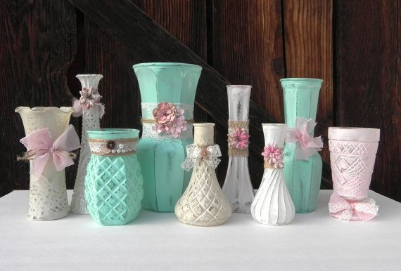 Burlap, Lace, Flowers and Pearls, Mint, Pink, Beige and Ivory SHABBY CHIC Vase set of 9