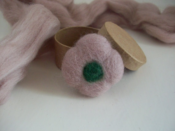 Felted Flower Pin by LaPommeEtLaPipe on Etsy, $12.50
