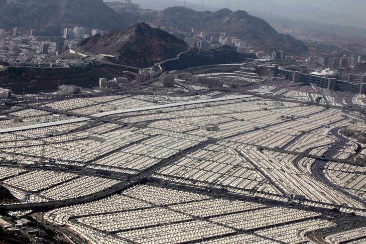Tents of Muslim pilgrims recede into the distance at Mina. #Hajj