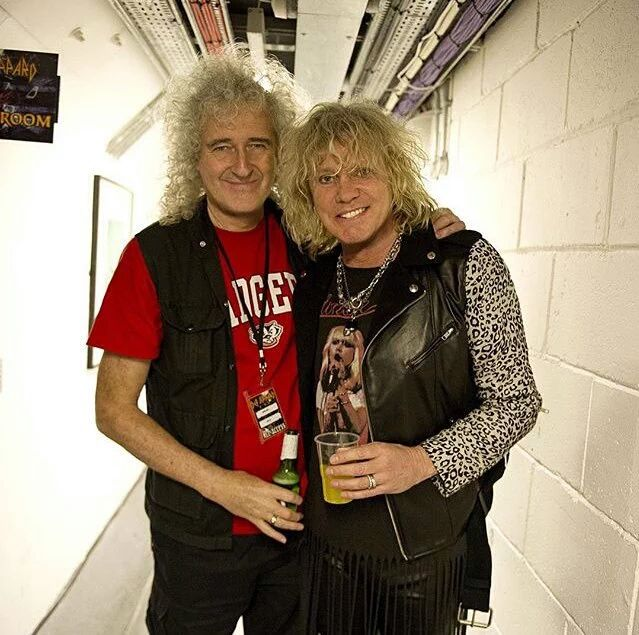 Brian May and Def Leppard's Rick Savage (by Ross Halfin)