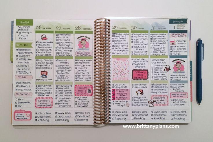 Erin Condren Life Planner Weekly Spread - December 26 to January 1
