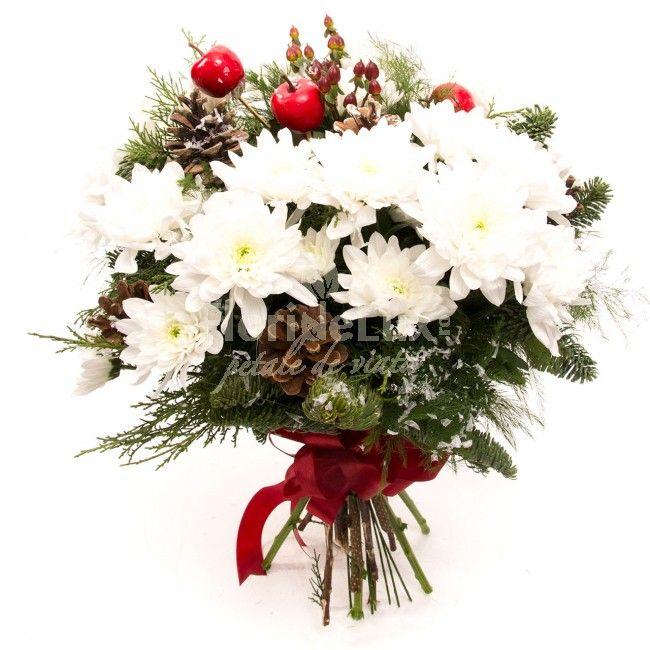 Cadou Craciun crizanteme albe pufoase https://www.floridelux.ro/cadou-craciun-crizanteme-albe.html
