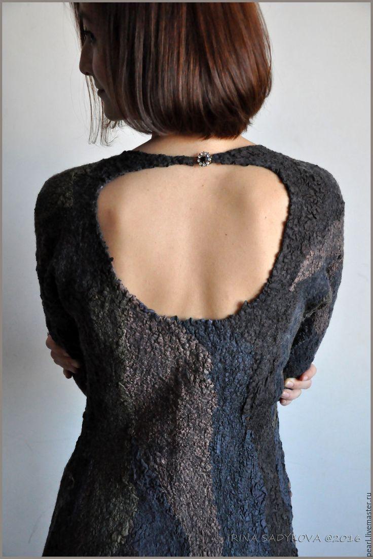 """Купить Платье """"Гранит"""" - комбинированный, абстрактный, черный, хаки, коричневый, платье, Платье нарядное"""