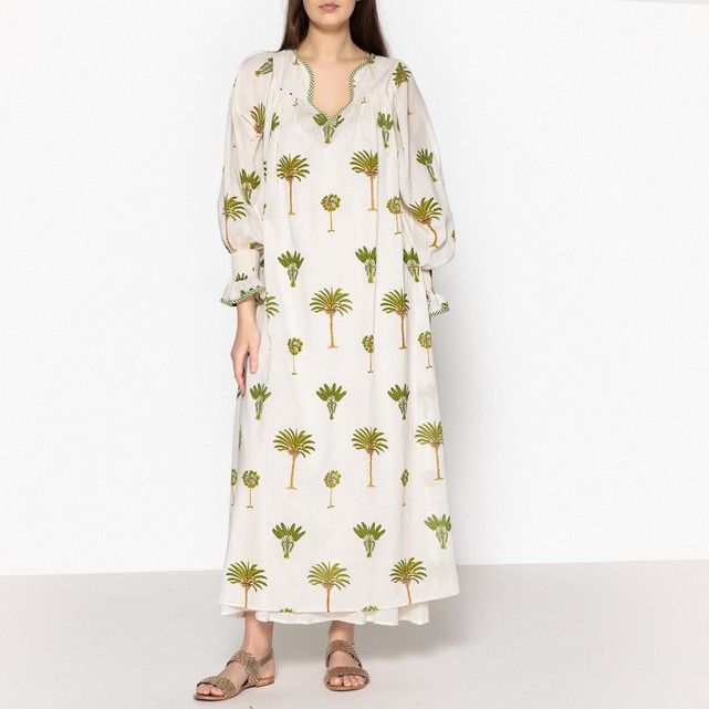 5e5642edb5 Palladio Palm Tree Embroidered Maxi Dress ANTIK BATIK Palladio Long Dress  by Antik Batik. Dress with 3 4 length puff sleeves. Tunisian collar…