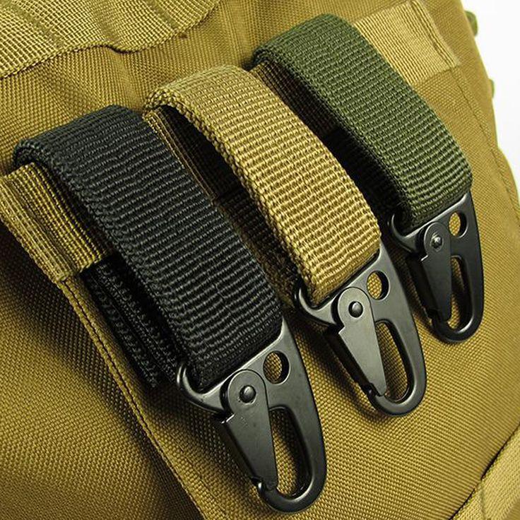 EDC tool outdoor camping D-carabiner key hook MOLLE webbing buckle hanging system Belt keychain(Nylon webbing + metal hook)FW006