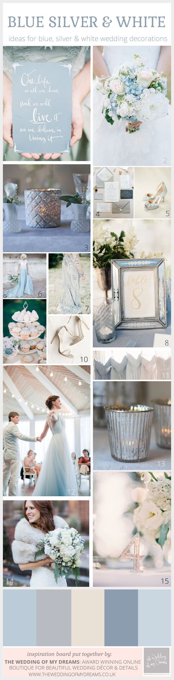Enchanting Winter Wedding Colour Scheme: White, Blue and Silver