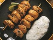 Curried Chicken Kebabs with Cucumber Sauce recipe