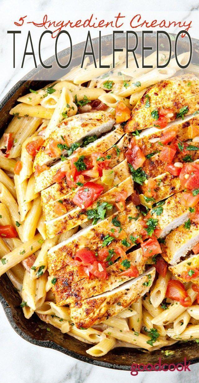 5-Zutaten Taco Alfredo | Pasta, Abendessen, einfaches Rezept, Huhn, Pfanne, Vorspeise …   – Chicken Recipes