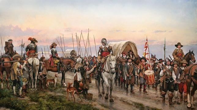 Retumban las pisadas de miles de hombres, vibran las ondas en los charcos de barro y chocan los palos de las picas al balanceo de los soldados. Es el paso de la vieja infantería española que camina dirección a Flandes. Parten de Italia, cruzan los Alpes, y caen con estrépito sobre el corazón de Europa. Durante 55 años la infantería usó la misma ruta para llegar a las posesiones norteñas de los Austrias españoles: el Camino Español