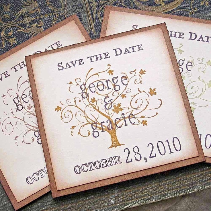 Vintage Wedding Save the Date Magnets Autumn Oak Tree. $3.00, via Etsy.