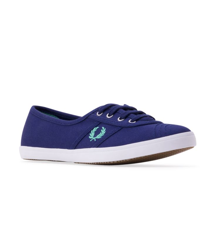 Women's FRED PERRY Aubrey Twill Sneaker - Navy - A preppy, vintage-style tennis shoe detailed with signature laurel embroidery gets a fresh, summery update with canvas twill construction.