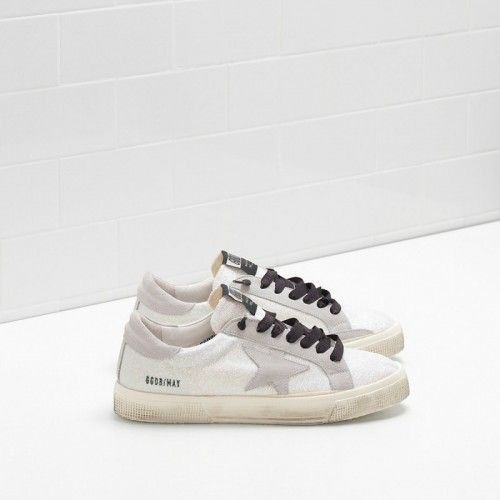 GGDB Women - Newest Golden Goose May Sneakers In Microglitter-Coated Pelle With Suede Star Women GGDB Lebanon Sneakers Sale