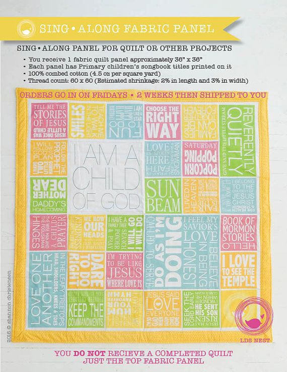 LDS Primary Song Sing  Along Quilt Panel Multi Colors