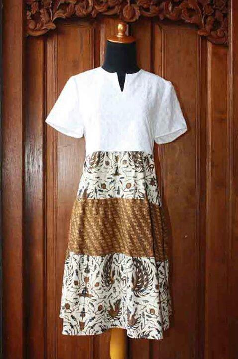 Dress batik kombinasi