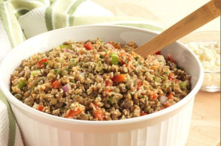 Bulgur and Lentil Salad (high in protein and fiber!)