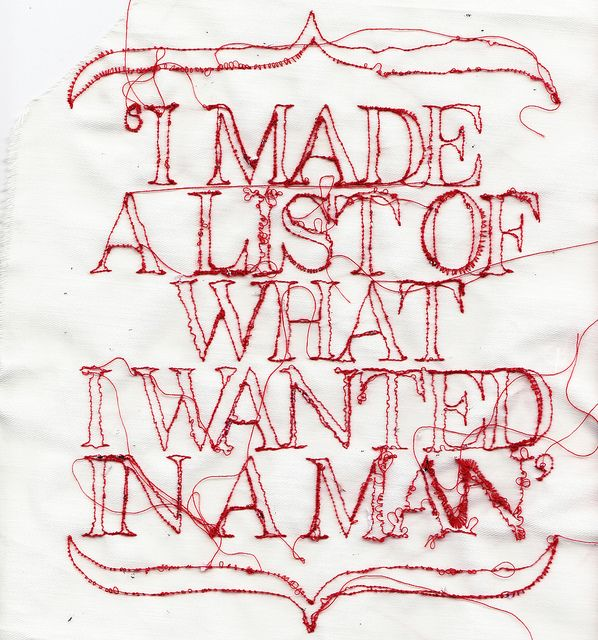 embroidered typography by Rosie Geissler