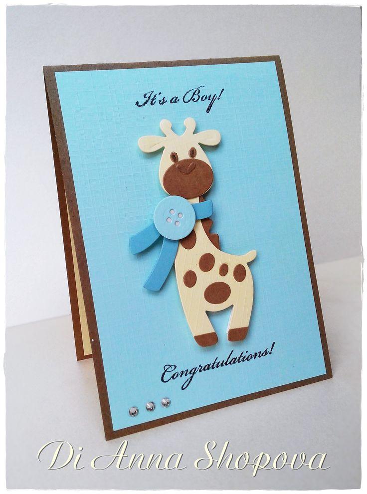 Baby Boy Congratulations Cas Card, Marianne Design Baby Giraffe
