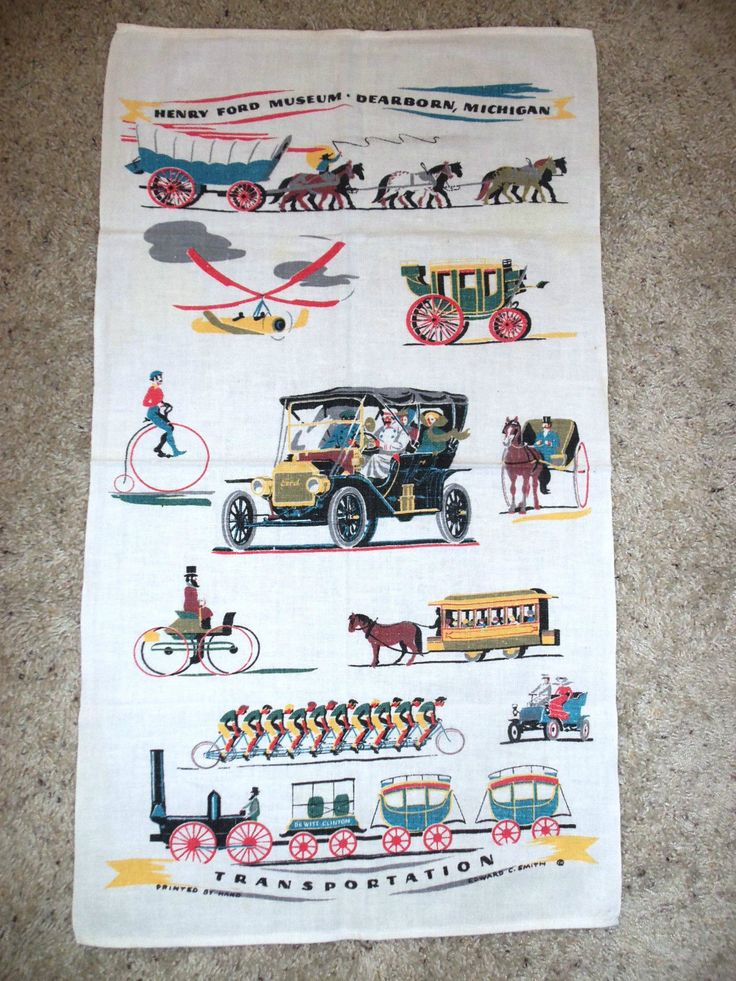 Vintage linen souvenir dish towel from the Henry Ford Museum in Dearborn, Michigan