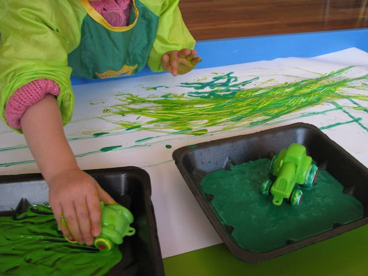 Painting with Toy Cars:   Rolling toy cars into paint and creating pictures with the patterns transferred from the wheels.