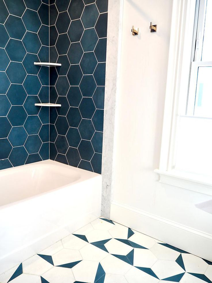 Federal Blue Solid Hex Stylish Bathroom Floor Tiles Design