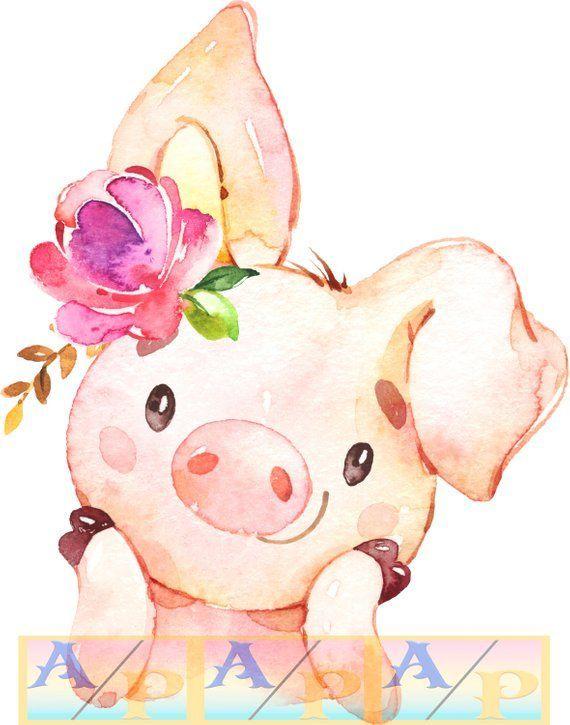 Pig nursery print or girl's baby shower decoration – Tribe of Burton
