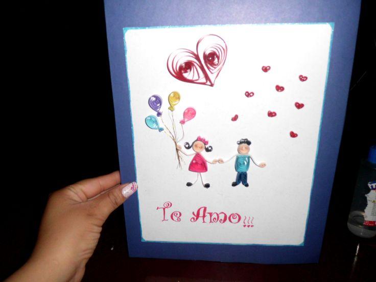 Tarjeta De Filigrana Para San Valentin 14 De Febrero