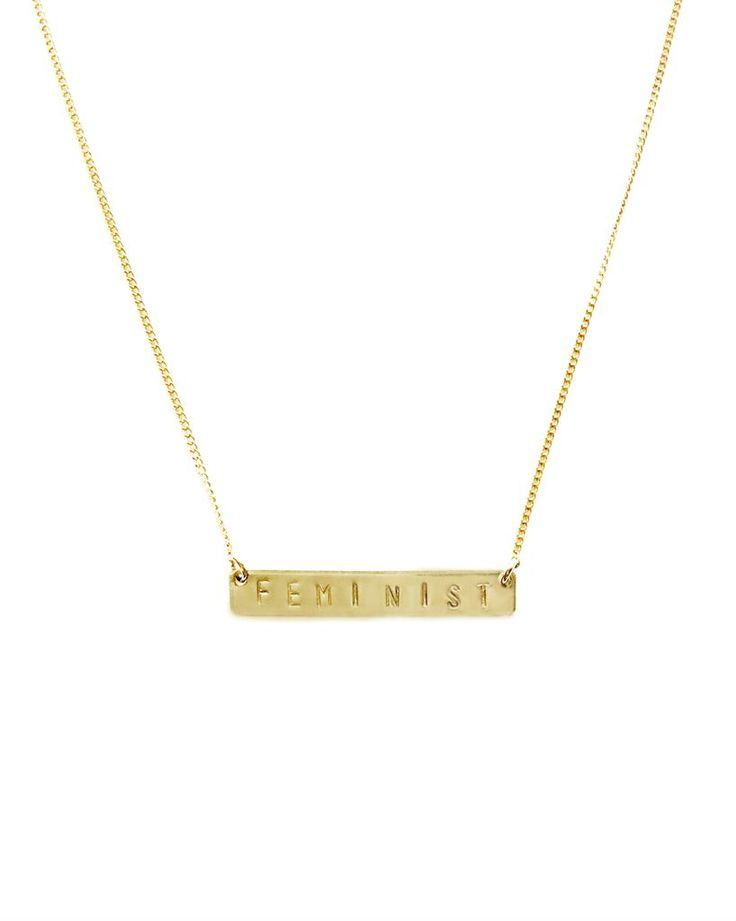 Feminist Handstamped Bar Necklace // Personalized handstamped jewelry you will love. Choose your favorite phrase, date, coordinates, or Roman Numerals. Made in USA. Available in Sterling Silver and 14k Gold Filled. Shop at www.simplestampjewelry.com