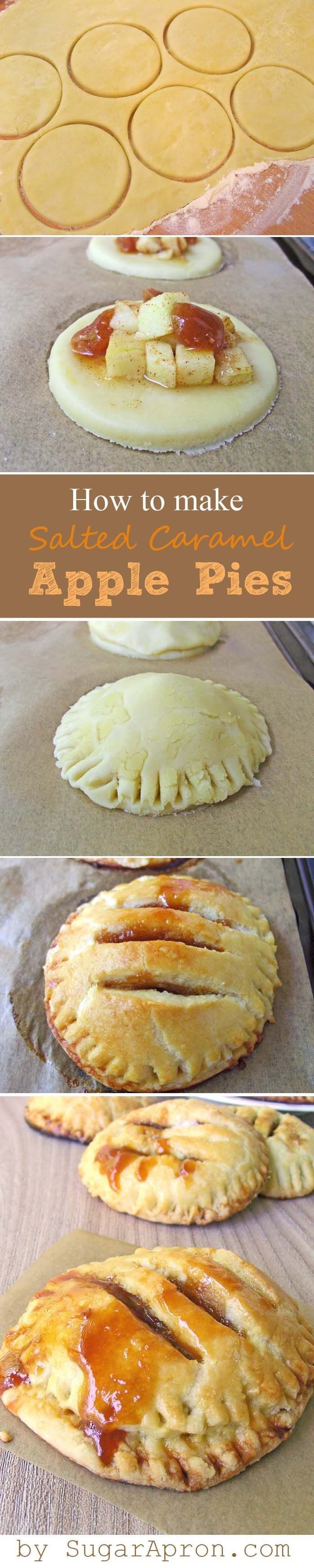 Individual Salted Caramel Apple Pies -- oh my! http://sugarapron.com/2014/07/15/individual-salted-caramel-apple-pies/#more-429