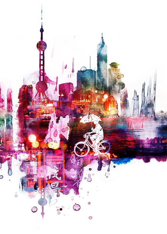 When It Rains  Ride Shanghai Wet by yeohghstudio on Etsy, $30.00